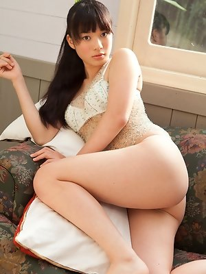 Tomoe Yamanaka Asian with sexy lips sits with nasty bum up in air