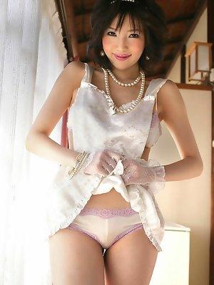 Yuuri Morishita Asian shows her sexy curves in white lingerie
